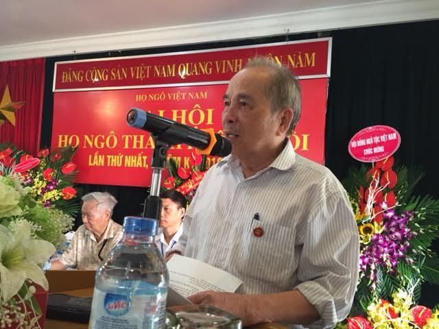 Ông Ngô Vui, Chủ tịch HĐNTVN phát biểu chỉ đạo Đại hội
